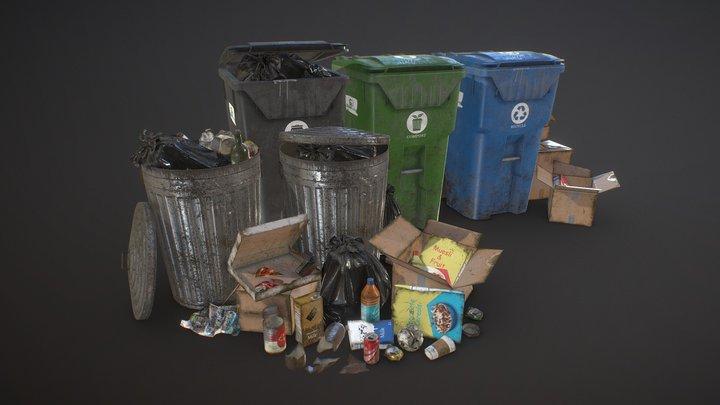 Urban Trash Pack Vol 2 - Low Poly 3D Model