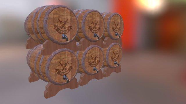 Wooden Barels 3D Model