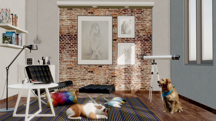 Interior Living Room Corner 3D Model