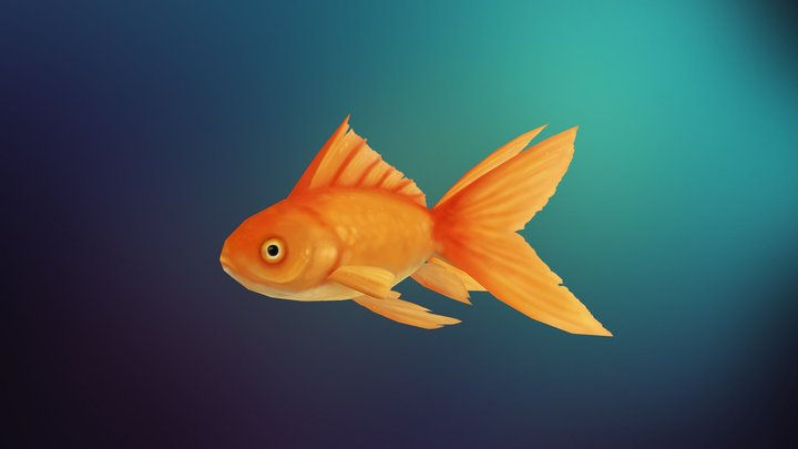 Hand Painted Gold Fish 3D Model