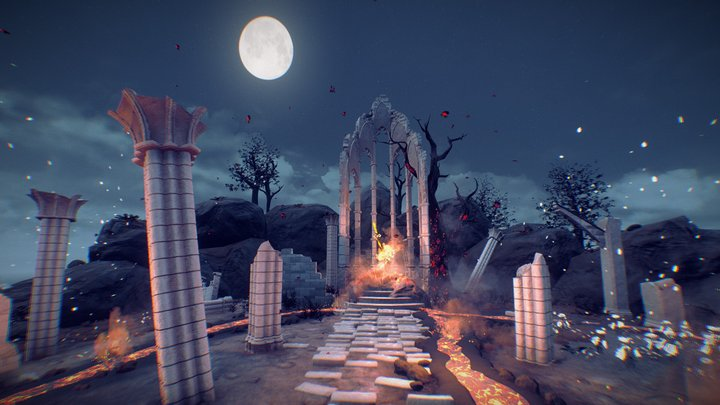 Firesword Shrine by night 3D Model