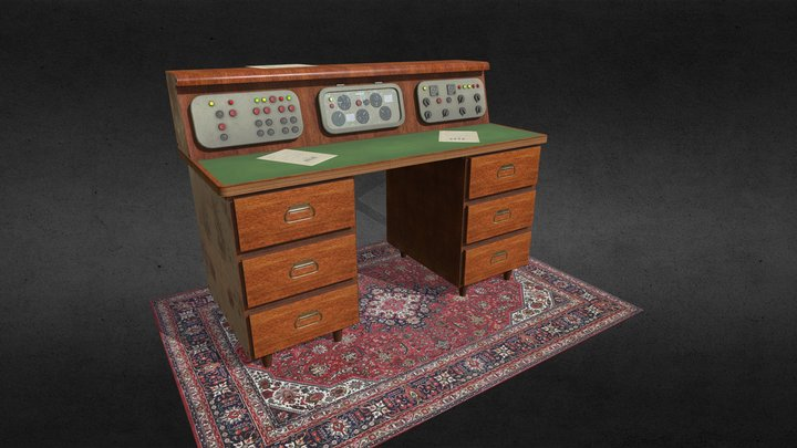 Old soviet table with control panel 3D Model