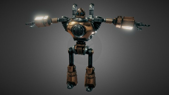 Robot steampunk PBR low poly 3D Model