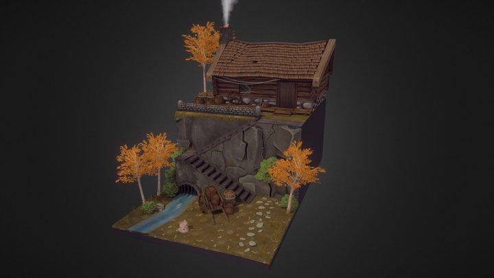Wooden Cabin Scene 3D Model