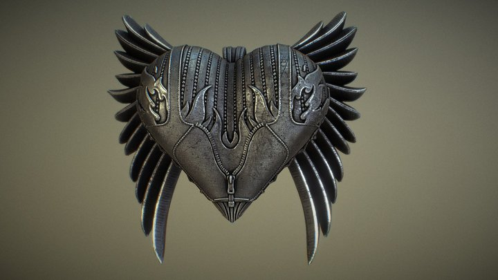 Winged Heart Pendant 3D Model