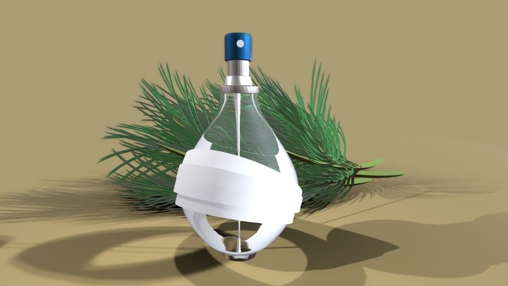 PERFUME BOTTLE WITH STRIPS on brown background 3D Model