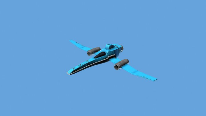 Space Ship Low Poly 3D Model