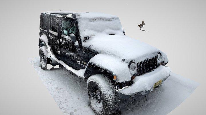 Snowed car in the street 3D Model