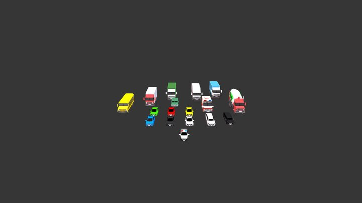 Low Poly Vehicles 3D Model