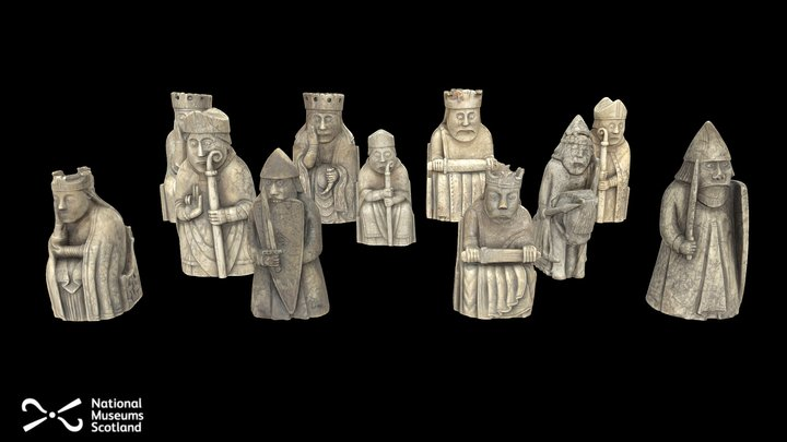 Lewis Chess Pieces: Complete Set 3D Model