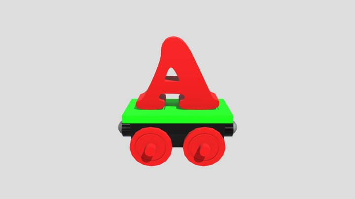 Wagon with Letter A 3D Model