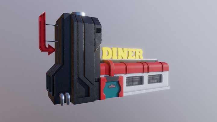 Scifi Retro Diner 3D Model