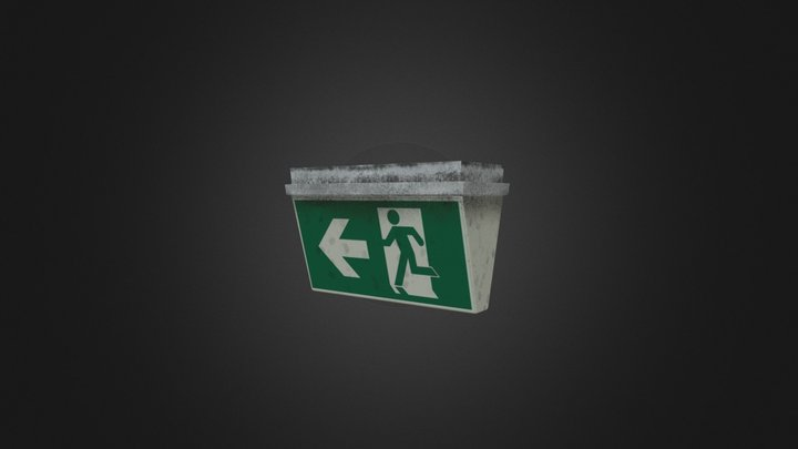 Exit sign game asset 3D Model