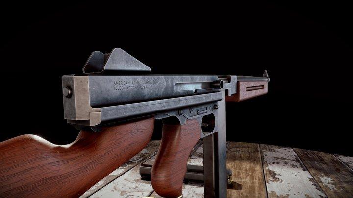 M1A1 Submachine Gun 3D Model