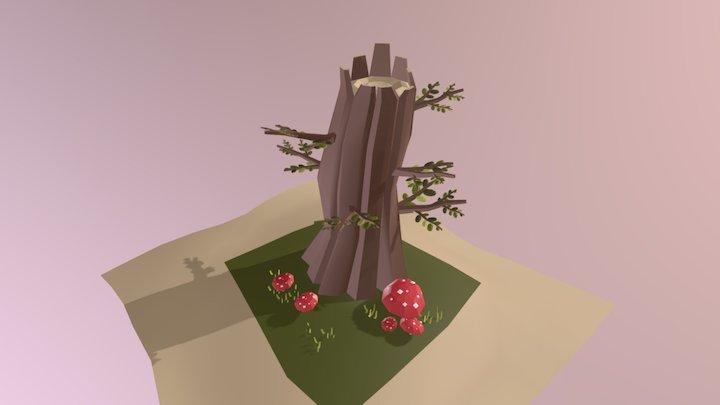 Tree Trunk & Mushrooms 3D Model