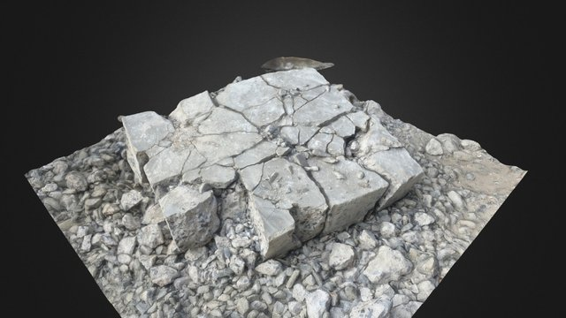 Cracked Concrete Block 3D Model
