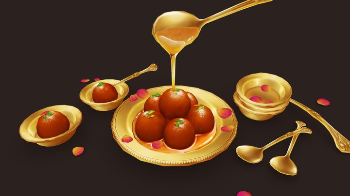 Gulab Jamun - Indian Dessert 3D Model