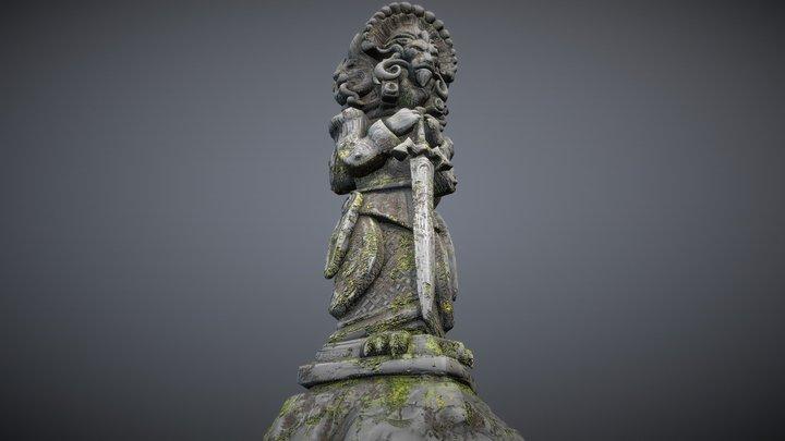 Lion Knight Fantasy Statue Totem 3D Model