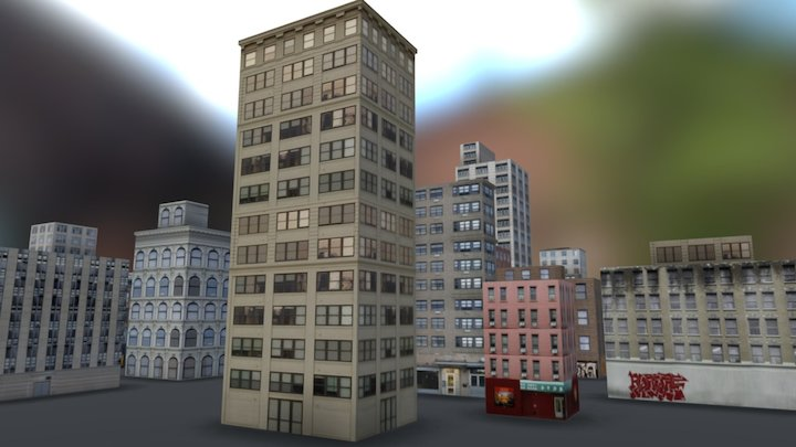NYC low poly buildings 3D Model