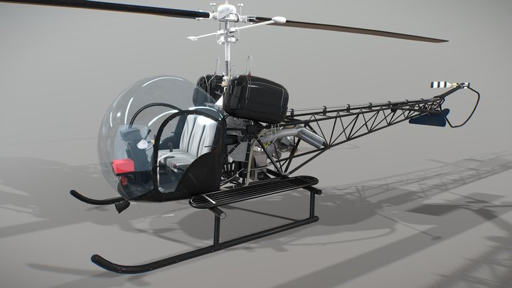 Helicopter Bell 47 3D Model
