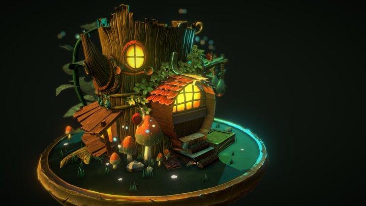 Tiny Treehouse Diorama 3D Model