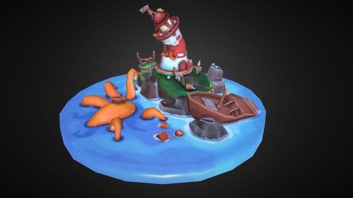 Battered Lighthouse 3D Model