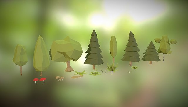 Pack Of Low Poly Nature 1 3D Model