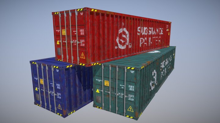 Box Shipping Containers 3D Model
