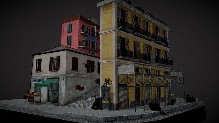City Scene Naples Low Poly 3D Model