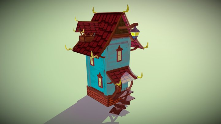 Hand Painted House 3D Model