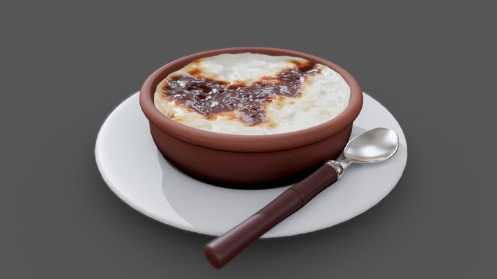 Baked Rice Pudding 3D Model