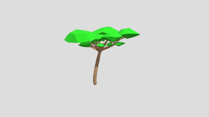 Low Poly - Cartoon Outlined Desert Tree Wide 3D Model