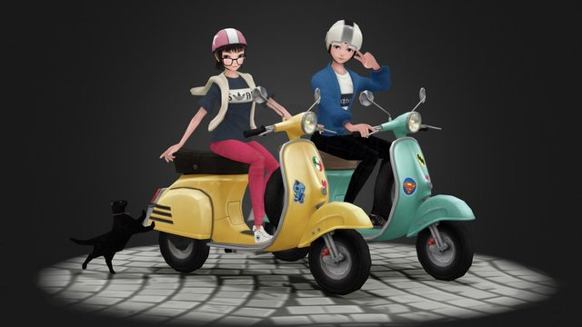 vespa casual character (pose 02) 3D Model