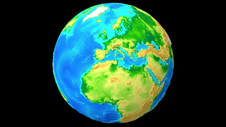 Earth Terrain and Sea Map 3D Model