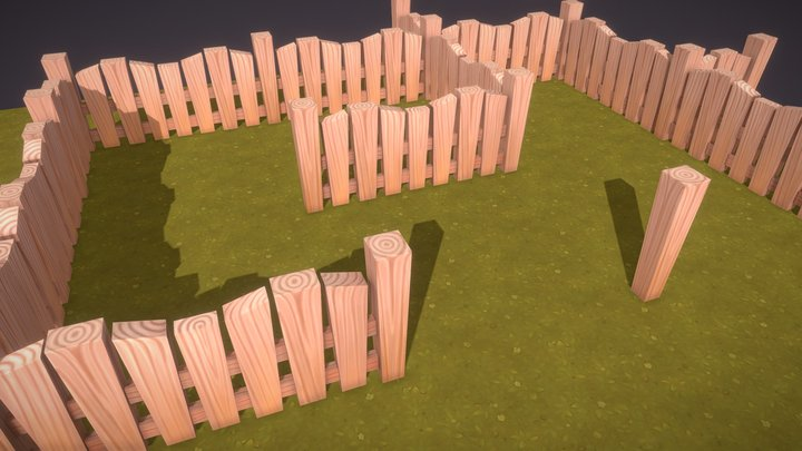 Low Poly wood fence on grass 3D Model