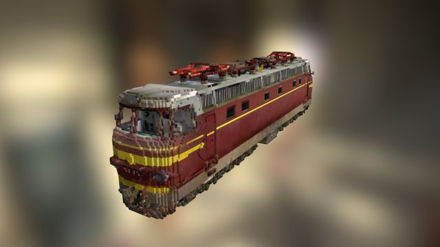 Voxel Train 3D Model