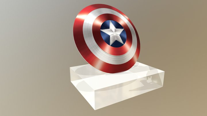 Low Poly Captain America Shield 3D Model