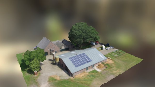 Boerenschuur met nieuw dak en zonnepanelen 3D Model