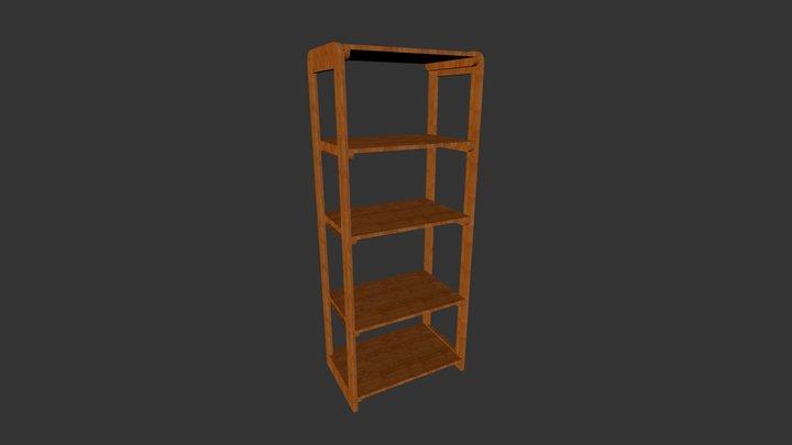 Wood Tall Shelves 3D Model