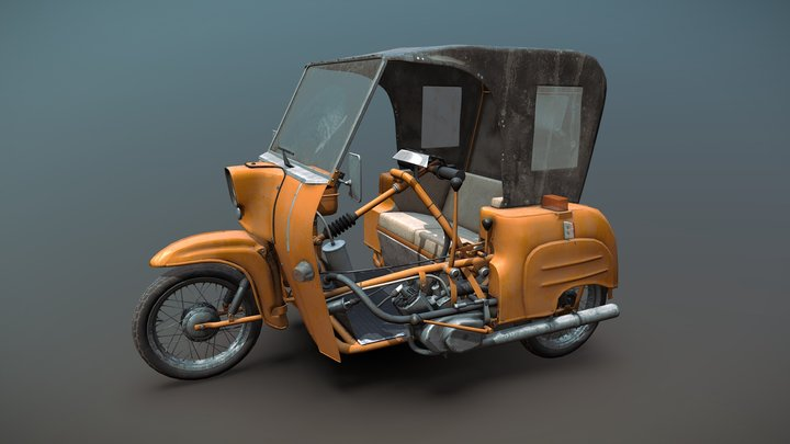 """Simson Duo Motorcycle """"Baked"""" 3D Model"""