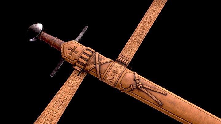Templar Sword & Scabbard 3D Model