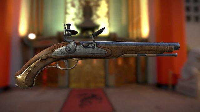 Flintlock Pistol XVIII Century 3D Model