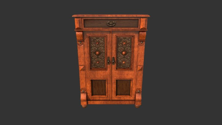 Old Cupboard with Glass 3D Model