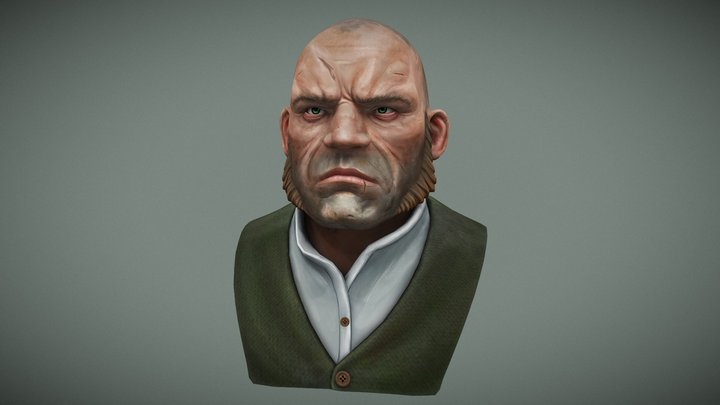 Dishonored Thug Bust 3D Model
