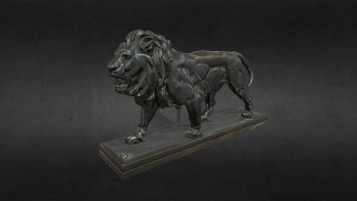 Lion walking, Antoine-Louis Barye 3D Model