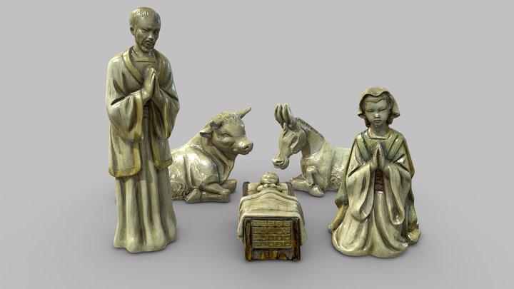 Ceramic Nativity scene Belén Porcelain figurines 3D Model