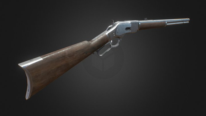 Lever Action Rifle, Game Asset 3D Model