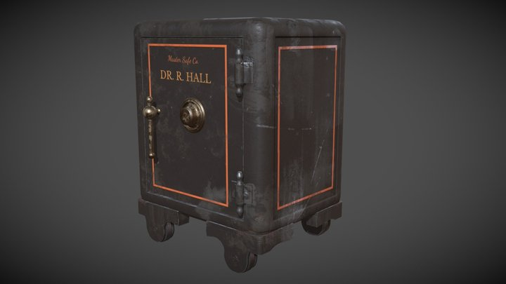 Antique Iron Safe 3D Model