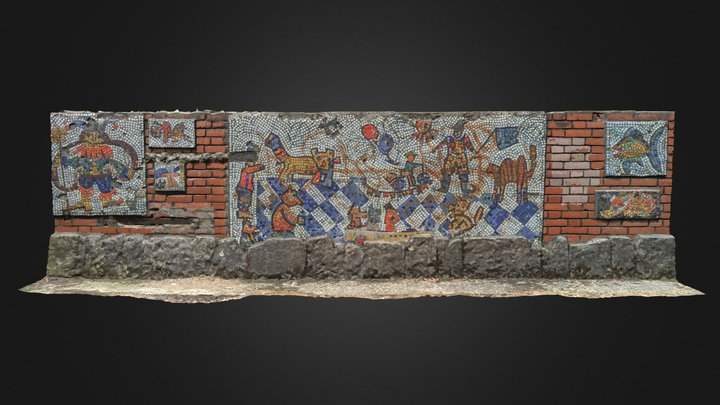 Mosaic covered wall 2 3D Model