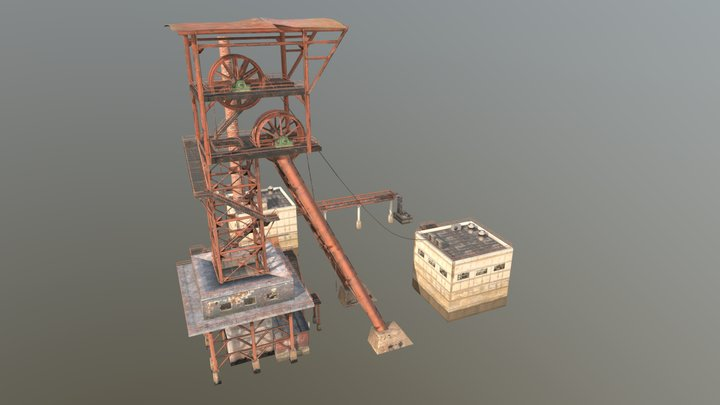 Low Poly Mining Tower 3D Model